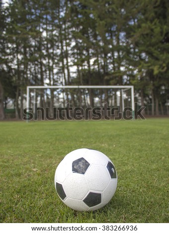 A soccer ball in stadium. - stock photo