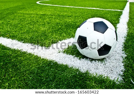 A soccer ball in the corner - stock photo