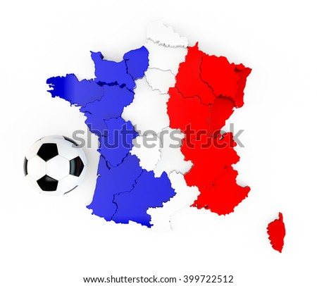 A soccer ball on a France map with a France French flag isolated on white background. 3D Rendering, 3D Illustration - stock photo