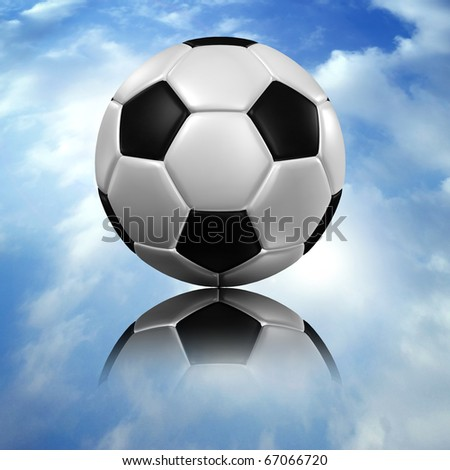 a soccer football and reflect on blue sky - stock photo
