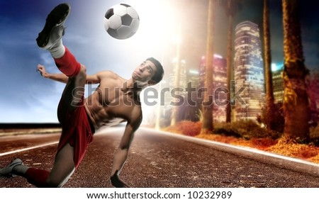 a soccer player on the american street - stock photo