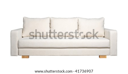 A sofa with white fabric upholstery isolated on white background - stock photo