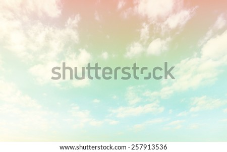 A soft cloud background with a pastel retro and vintage tone. - stock photo