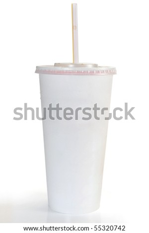 A soft drink in clear takeout paper cup with lid and straw