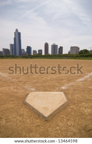 A softball field near downtown - stock photo