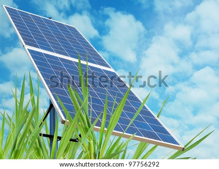 A solar station in green environment - stock photo