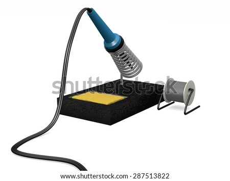 A soldering iron in holder ready to use  - stock photo
