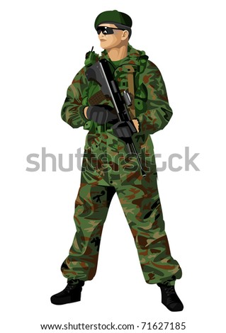 A soldier in camouflage holding a rifle. Highly detailed images. - stock photo
