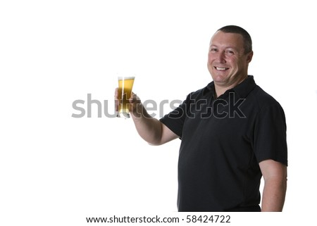 a sole male, drinking beer, in happy mood - stock photo