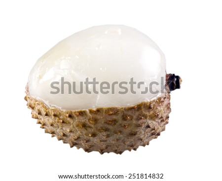 a solitair litchi against a white background - stock photo