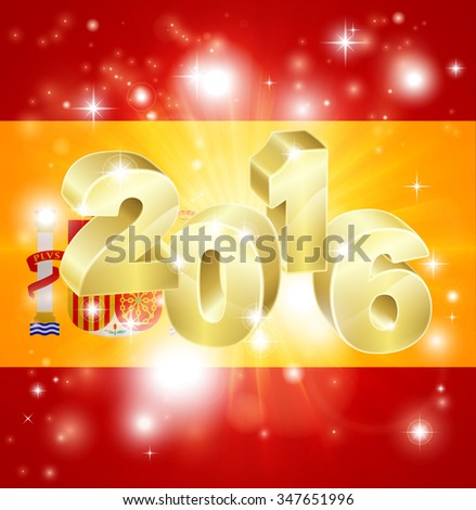 A Spanish flag with 2016 coming out of it with fireworks. Concept for New Year or anything exciting happening in Spain in the year 2016. - stock photo