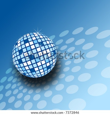 A sparkly blue mirrorball illustration - stock photo