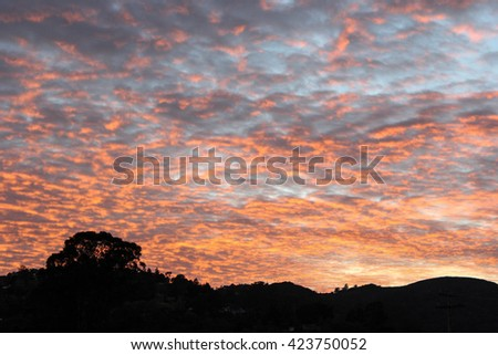 A spectacular sunset over Mill Valley, California. - stock photo