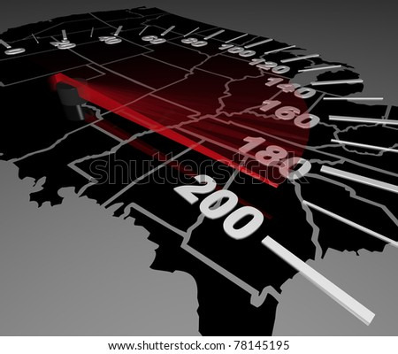 A speedometer on a U.S.A. map, with the needle pushing to the max, symbolizing the United States resurgence on the global stage and its economy growing at a fast pace - stock photo