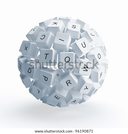 A sphere from the keys of keyboard is isolated on a white background - stock photo