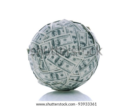 A sphere made up of USA one hundred dollar bills over a white background with reflection - stock photo