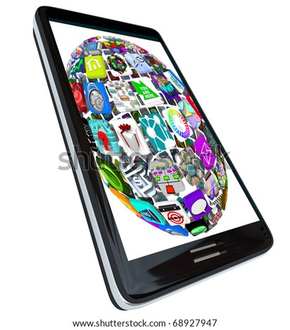 A sphere pattern of application icons displayed a  modern black smart phone - stock photo