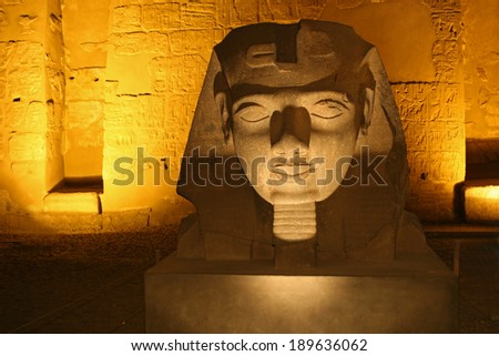 A Sphinx in the Luxor temple in Egpyt - stock photo