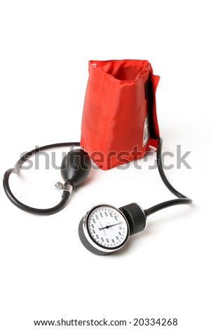 A sphygmomanometer otherwise known as a bp cuff.  Focus to dial