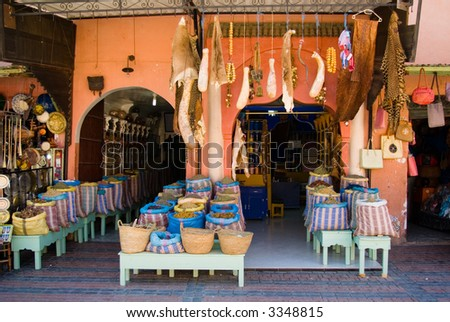 A spices' shop in the souk of Marrakech, Morocco - stock photo