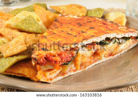 A spicy grilled chicken panini on flatbread with vegetable tortilla chips