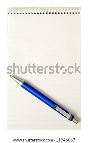 A spiral notepad with pen - stock photo