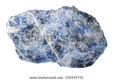 A splinter of sodalite, isolated on a white background