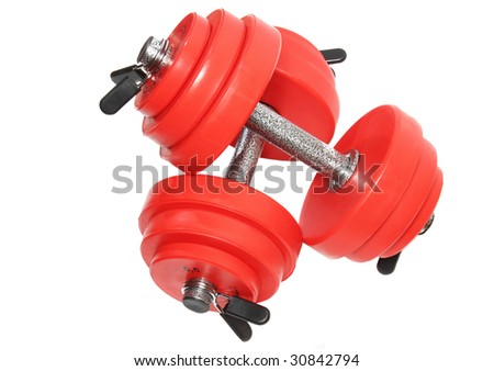A  sporting equipment - two red dumbbell. Isolated