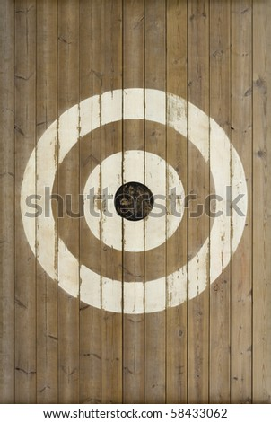 A sports training target painted on wooden boards.