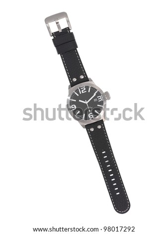 A sports wrist watch isolated against a white background - stock photo