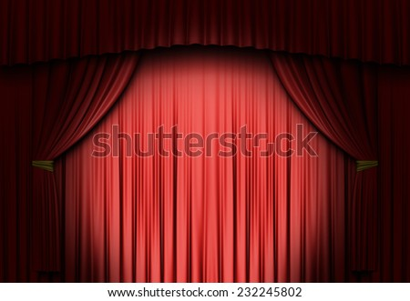 A spot light on a red curtain - stock photo