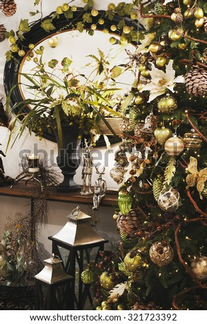 a spot on a showroom on Christmas with a Christmas tree - stock photo