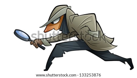 A spy with a big glass trying to find evidences - stock photo