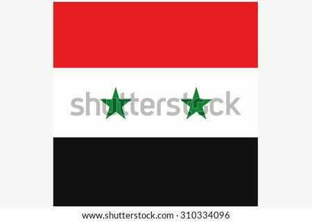 A Square Flag Illustration of the country of Syria - stock photo