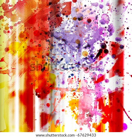 A square grungy texture with colorful blots - stock photo