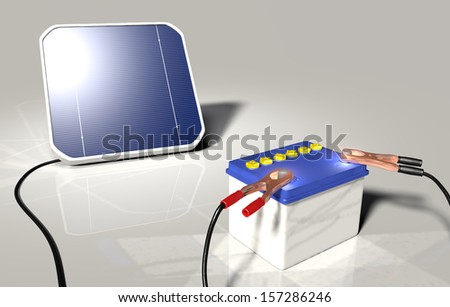 a squared solar panel illuminated by sunlight is charging a car battery with two terminals connected on the poles positive and negative - stock photo