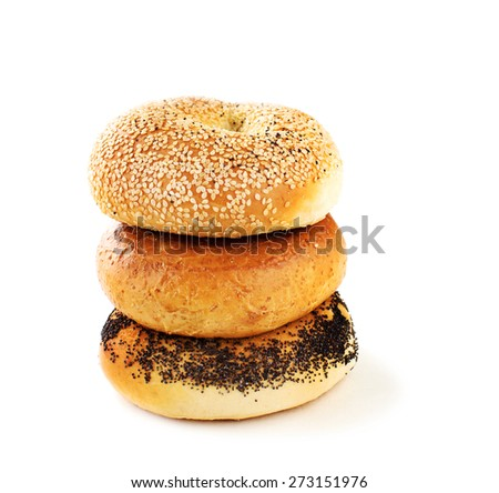 A stack of assorted bagels