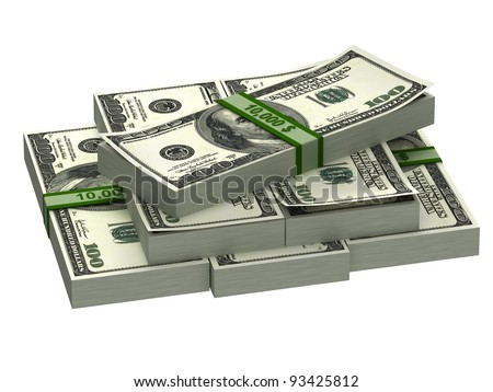 A stack of banknotes isolated on white background.
