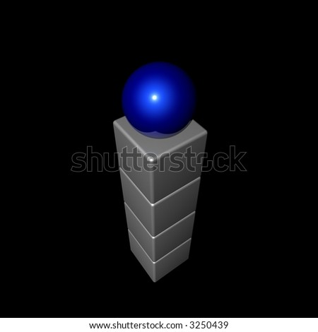 A stack of blue and white shapes with a blue sphere on top. black background and angled to a top/birds eye view.