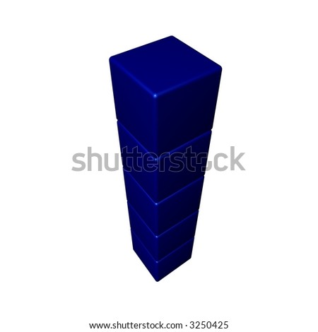 A stack of blue cubes with a white background and angled to a top/birds eye view.