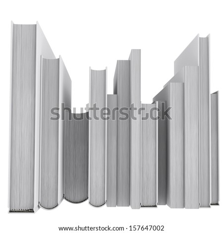 A stack of books. back view. Isolated render on a white background