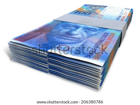 A stack of bundled  Swiss Franc banknotes on an isolated background - stock photo