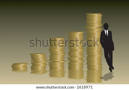 A stack of coins arranged into a graph with a businessman leaning against them