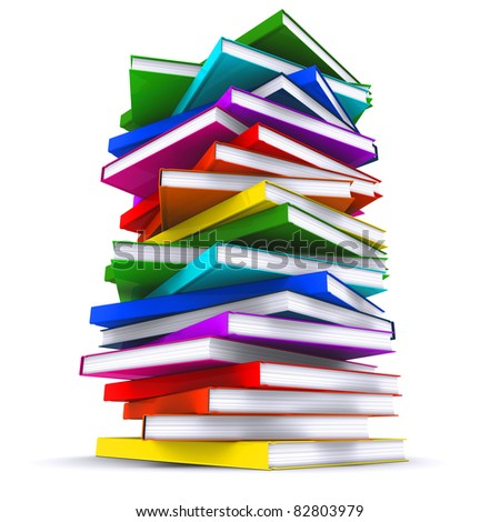 A stack of colorful books. 3d rendering