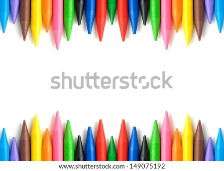A stack of colorful crayons on an isolated white background. with copy space - stock photo