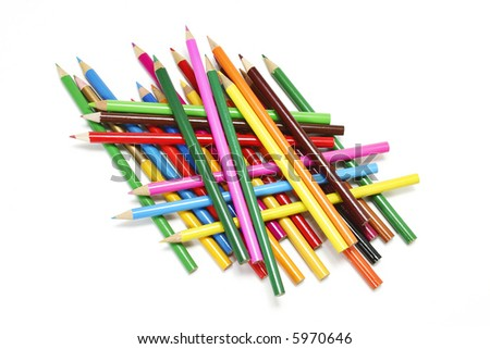 A stack of Colour Pencils - stock photo