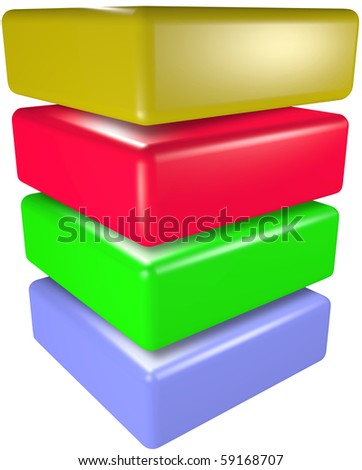 A stack of four 3D technology cubes abstract data symbols. - stock photo