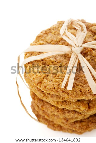A stack of homemade oatmeal cookies - stock photo