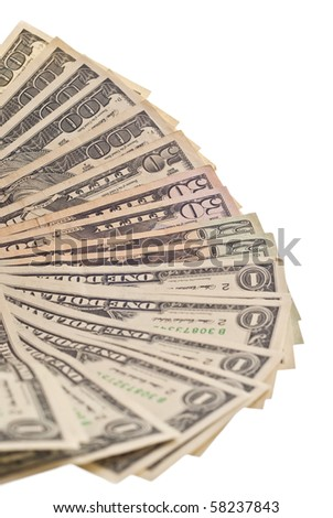 A stack of hundred, one, fifty, twenty dollar bills. Isolated on white - stock photo
