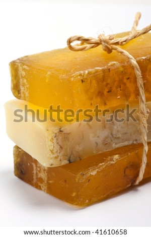 a stack of natural handmade soaps